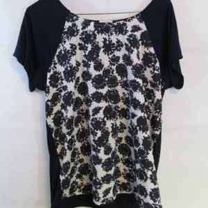 J Crew Short Sleeve Sheer Top Small Blue Floral